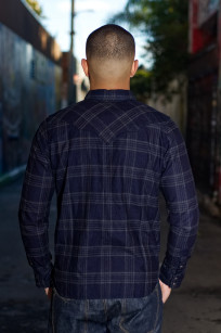 Pure Blue Japan Flannel Shirt - Indigo Check Snap - Image 1