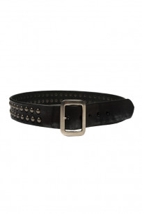 Sugar Cane Cowhide Leather Belt - Black Studded - Image 0