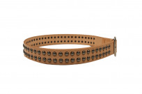 Sugar Cane Cowhide Leather Belt - Tan Studded - Image 1