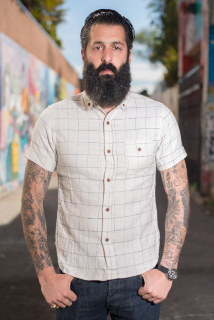 3sixteen Windowpane Flannel - White