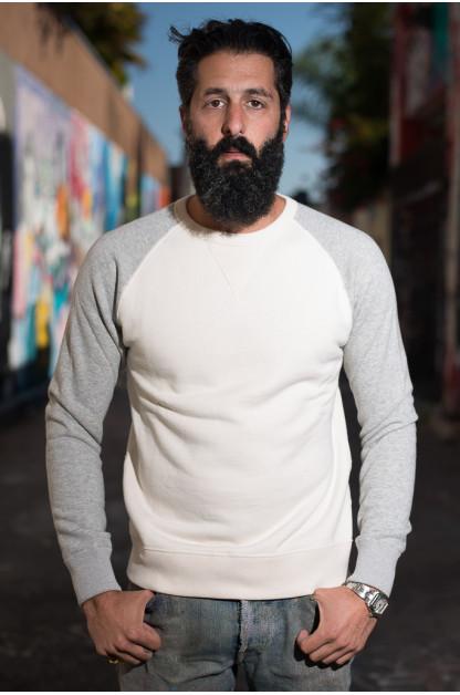 Nine Lives Loopwheeled Tsuriurake Crewneck Sweater - Natural/Gray