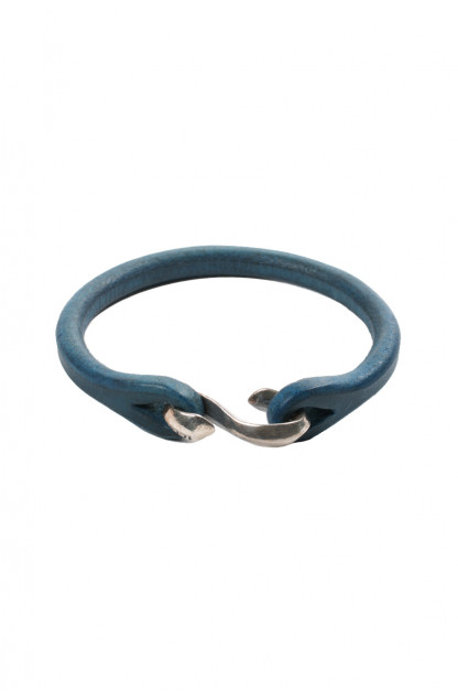 Flat Head Indigo Leather & Silver Bracelet