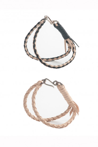 Flat Head Woven Leather & Silver Bracelets