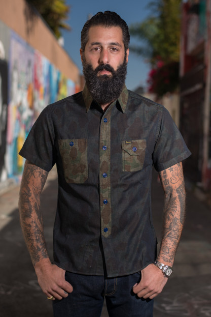 "Studio D'Artisan ""Snail on Razor"" Denim Camo Shirt"