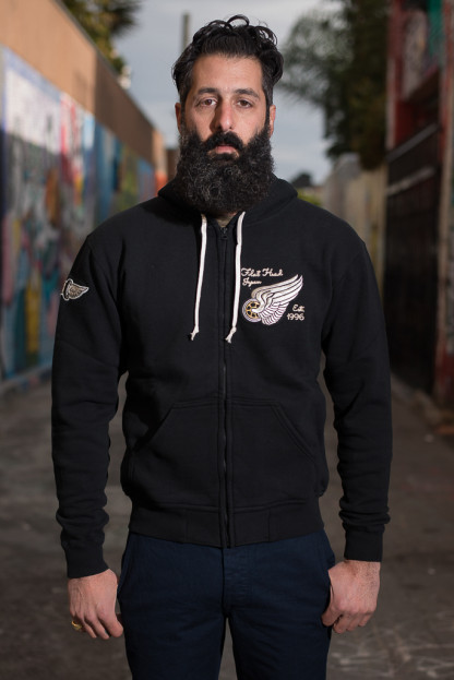 Flat Head Loopwheeled Zip Hoodie w/ Custom Patches