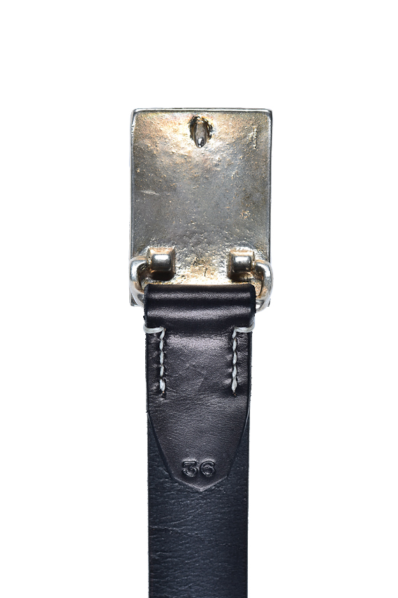 Flat Head Leather Belt - Black - Image 2
