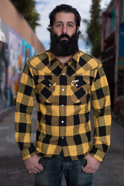 "Flat Head ""Mellow Yellow"" Winter Flannel Snap Shirt"