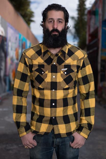 Flat Head Mellow Yellow Winter Flannel Snap Shirt