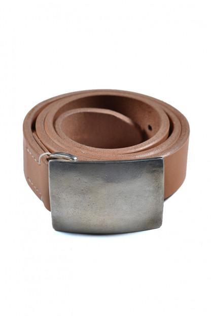 Flat Head Leather Belt - Tan