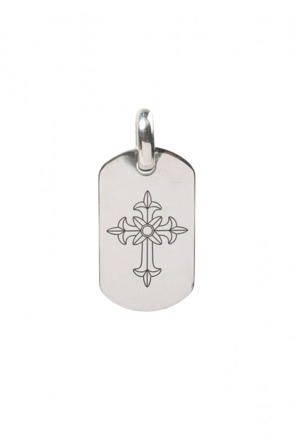 Good Art Sterling Silver Dog Tag Pendant - Medium/Spanish Cross