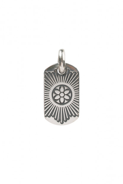 Good Art Sterling Silver Dog Tag Pendant - Medium/Burst Rosette