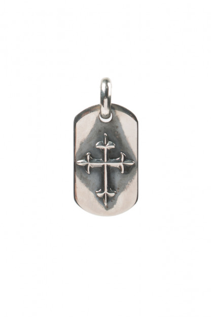 Good Art Sterling Silver Dog Tag - Medium/Raised Cross