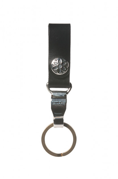 Good Art Leather Snap Key Ring w/ Sterling Clip 11 - Black