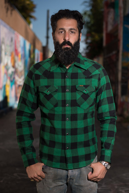 Iron Heart Ultra-Heavy Block Check Flannel Mark II - Green Snap