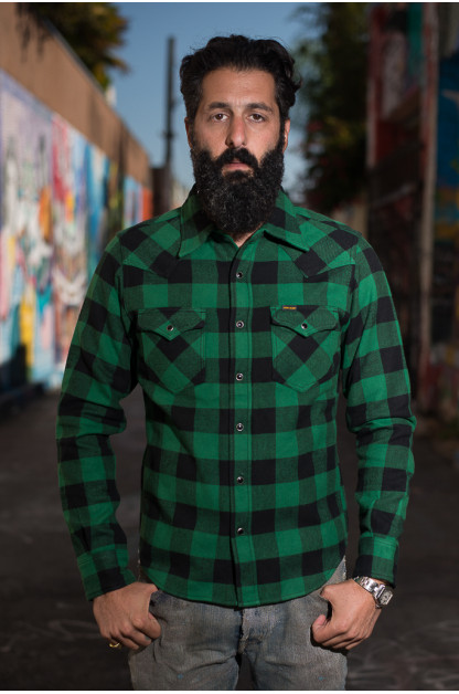 Iron Heart Ultra-Heavy Block Check Flannel Mark II - Green Snap