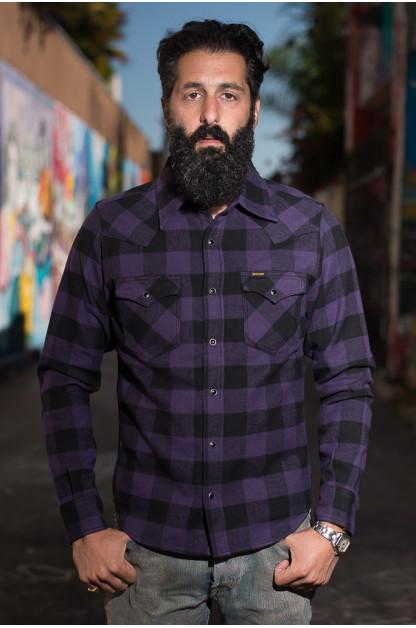 Iron Heart Ultra-Heavy Block Check Flannel Mark II - Purple Snap