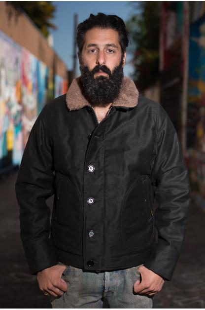 Iron Heart 2016 Alpaca-Lined N-1 Deck Jacket - Black