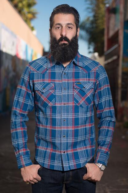 Iron Heart Ultra-Heavy Franela Loca Shirt - Blue
