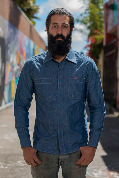 Iron Heart Organic Cotton & Natural Indigo 6oz Chambray Shirt