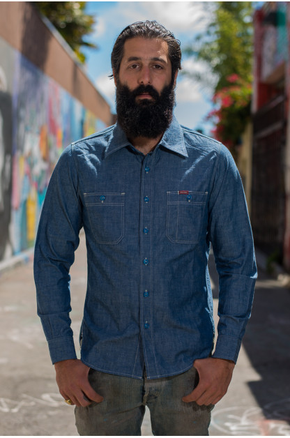 Iron Heart Organic Cotton & Natural Indigo 6oz Chambray Shirt