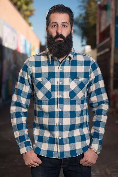 Iron Heart Ultra-Heavy Flannel - Cream/Blue Workshirt