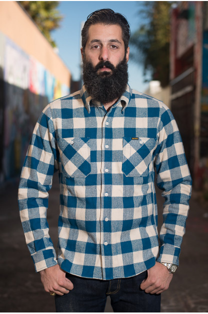 Iron Heart Ultra-Heavy Flannel - Cream/Blue Workshirt