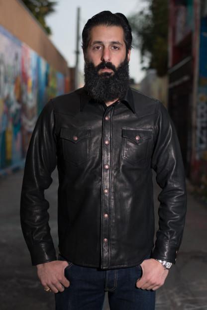 Iron Heart Deerskin Snap Buttoned Shirt - Black