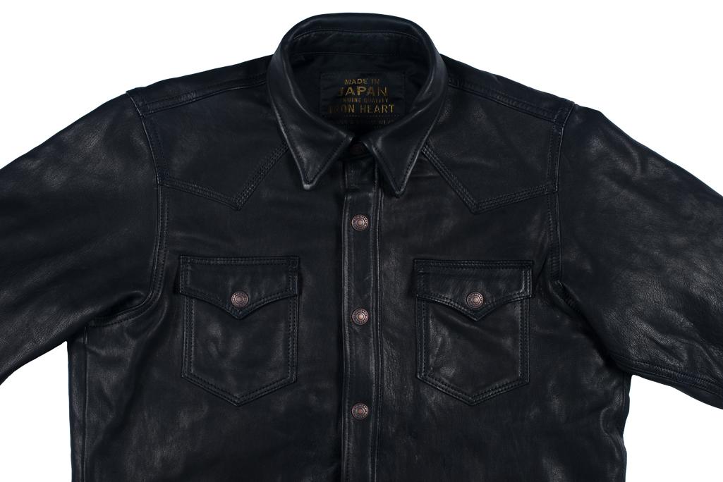 Iron Heart Deerskin Snap Buttoned Shirt - Black - Image 8