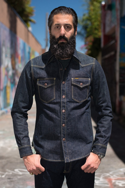 Iron Heart 17oz Selvedge Denim Shirt w/ Hand Pockets - Indigo