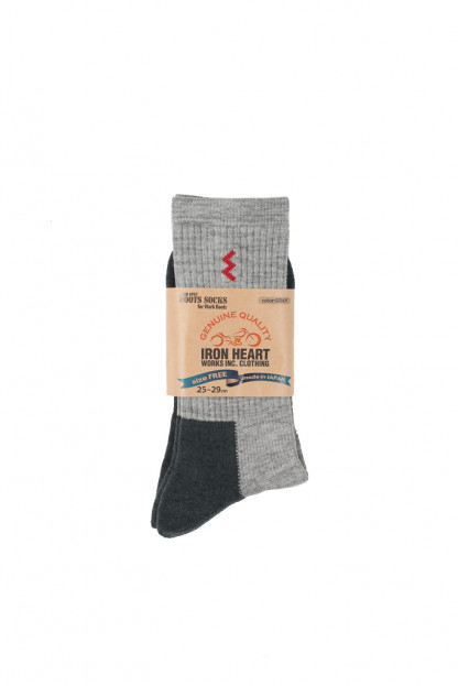 Iron Heart Heavyweight Work Boot Socks (Medium Cut) - Gray