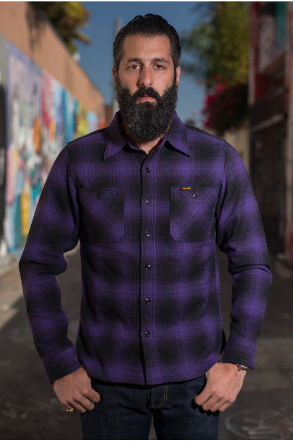 "Iron Heart Ultra-Heavy ""Return of the Purps"" Ombre Flannel - Workshirt"