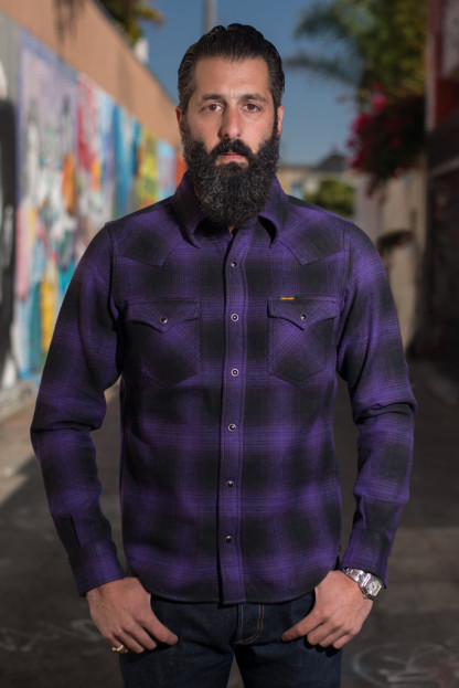 "Iron Heart Ultra-Heavy ""Return of the Purps"" Ombre Flannel - Snap Buttoned"