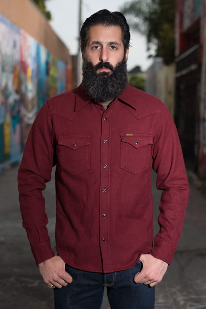 Iron Heart Ultra-Heavy Solid Colored Flannel - Burgundy
