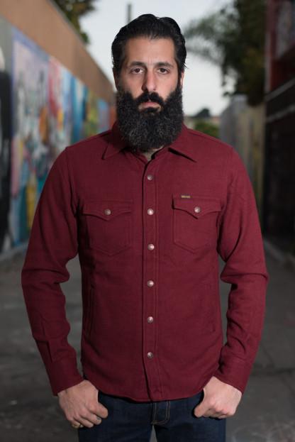 Iron Heart Ultra-Heavy CPO Flannel w/ Hand Pockets - Burgundy