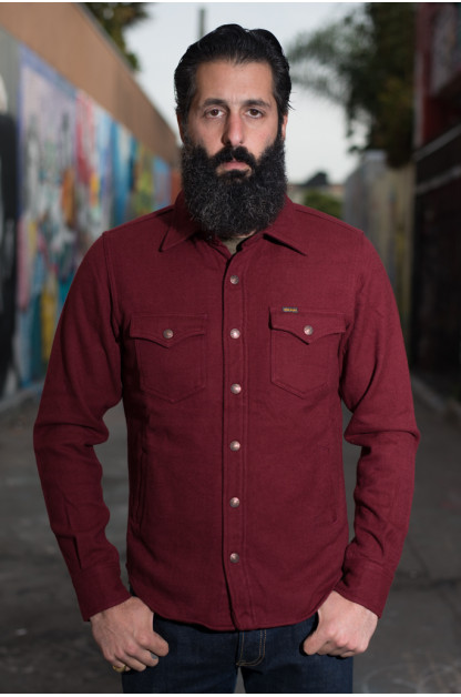 Iron Heart Ultra-Heavy CPO Flannel w/ Hand Pockets - Burgundy