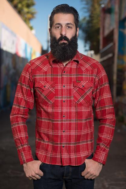 Iron Heart Ultra-Heavy Franela Loca Shirt - Red
