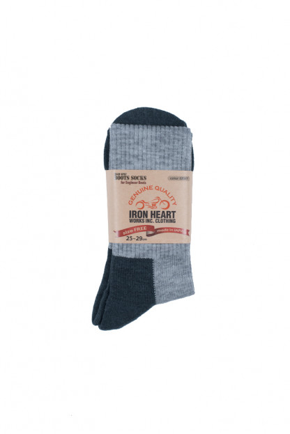 Iron Heart Heavyweight Engineer Boot Socks - (High Cut) Gray
