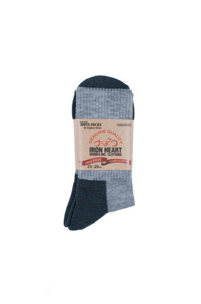 Iron Heart Heavyweight Engineer Boot Socks - Gray (High Cut)