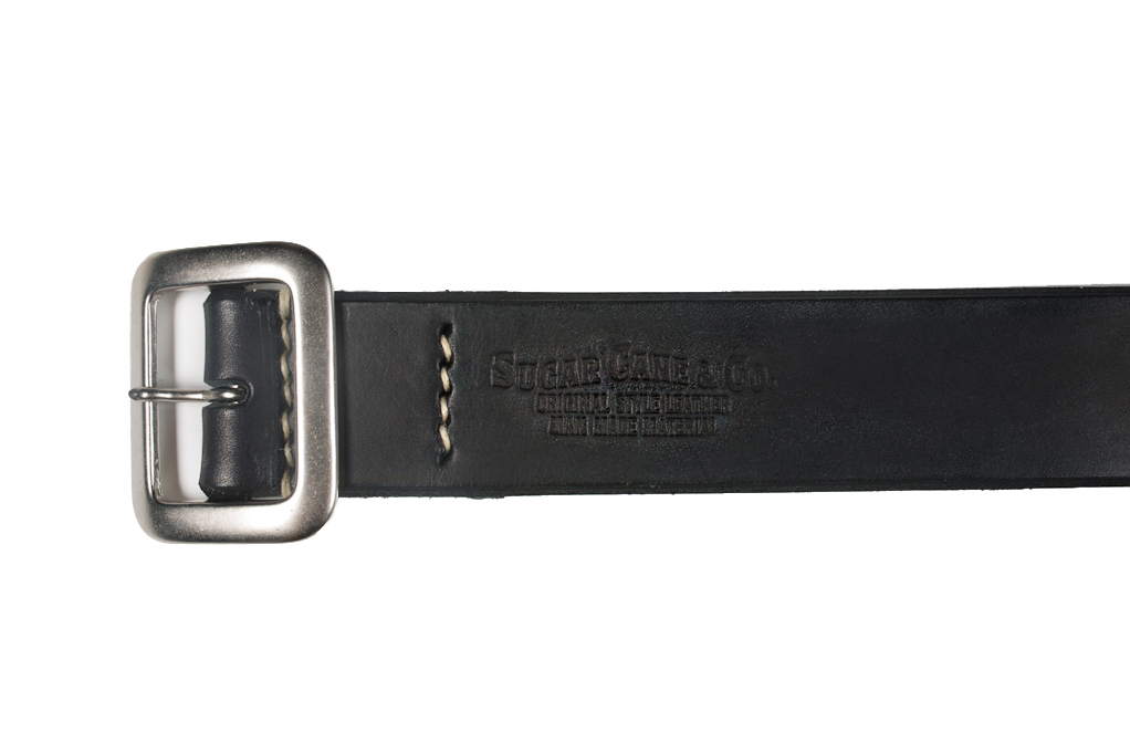 Sugar Cane Cowhide Leather Belt - Black - Image 3