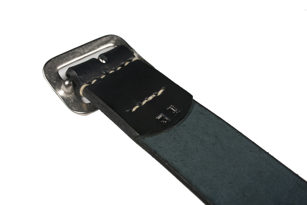 Sugar Cane Cowhide Leather Belt - Black - Image 2