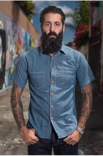 Sugar Cane Blue Moonshine Hank-Dyed Natural Indigo Workshirt