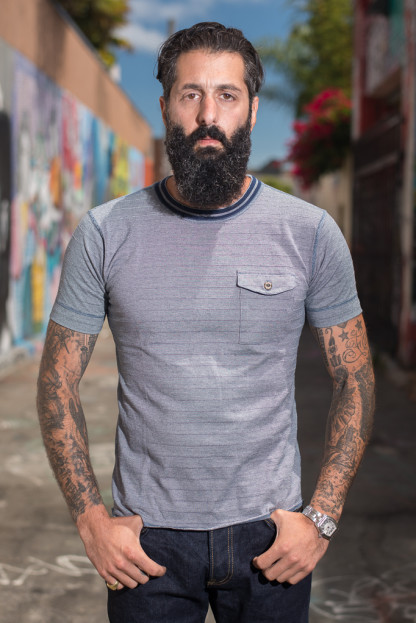 Sugar Cane Fiction & Romance Dobby Woven Border Collar - Navy T-Shirt