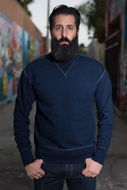 Studio D'Artisan Loopwheeled Sweater - Indigo Dyed