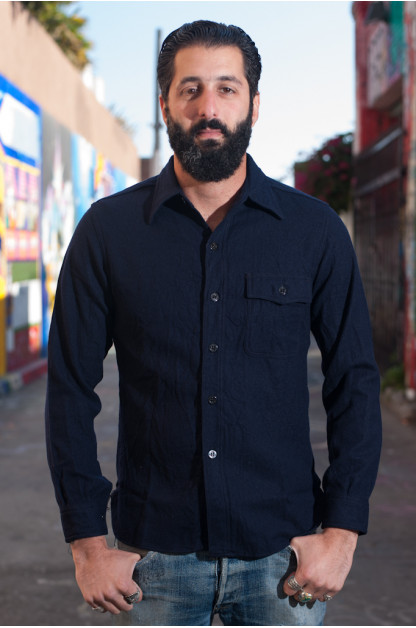 Navy Wool Flannel CPO Shirt