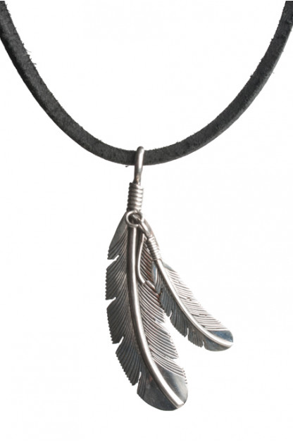 Silver Double Feather Necklace