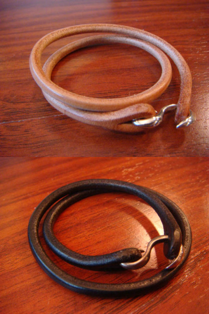 Flat Head Leather & Silver Bracelet - Dual Strand