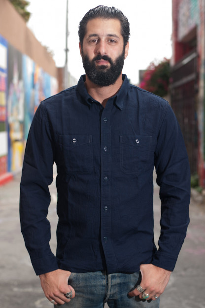 Glory Park Indigo-Dyed Linen Shirt - Long Sleeve