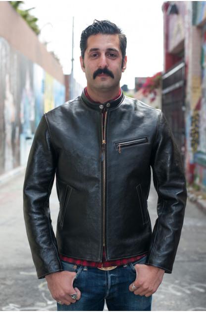 Flat Head Horsehide Leather Zip Cafe Racer Jacket - Black