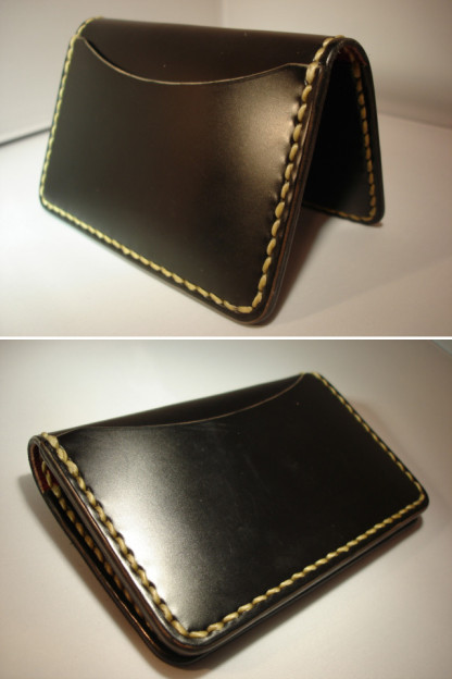 Flat Head Cordovan Card Case - Black